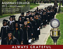"""Aquinas College 2012-2013 Donors - Always Grateful"" students graduating"