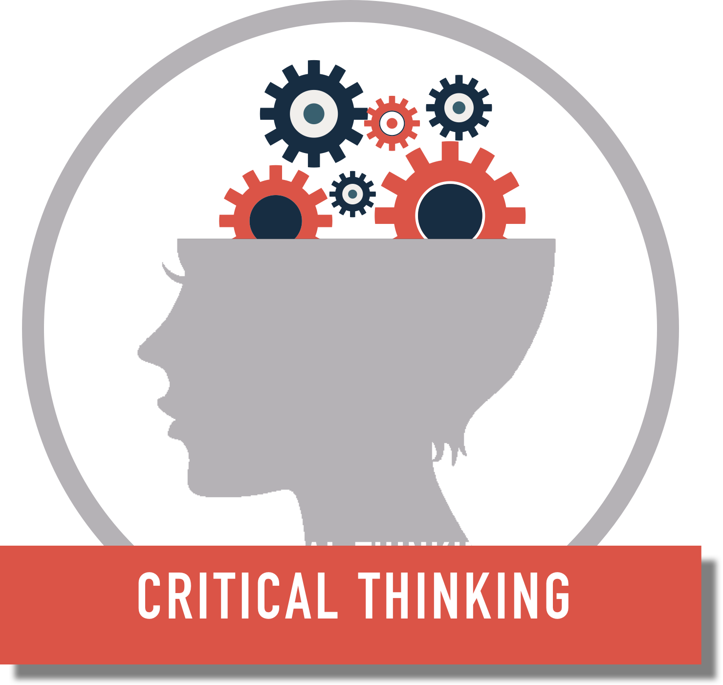 """Critical Thinking"" graphic of a head with gears coming out of it"