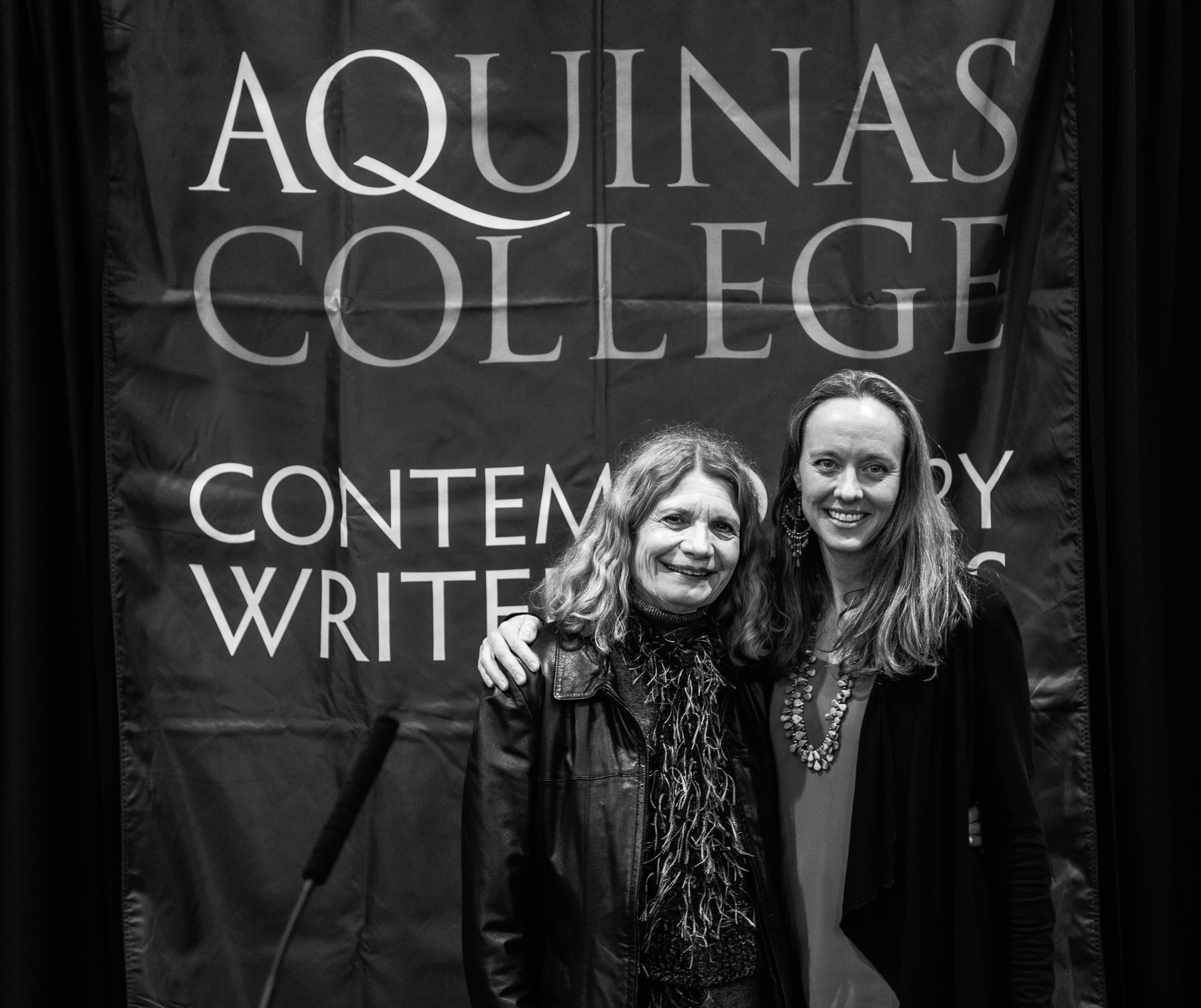 Picture of AQ Alumnae Linda Nemec Foster ('72) who is the Co-Founder of CWS and a well published poet with  Dr. Shelli Rottschafer, the Director of CWS since Fall 2014. Rottschafer is a Professor of Spanish and teaches Chicanx and Latinx Literature.