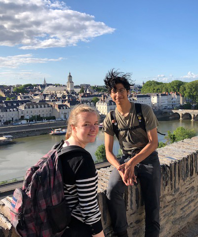 two students on bridge in France