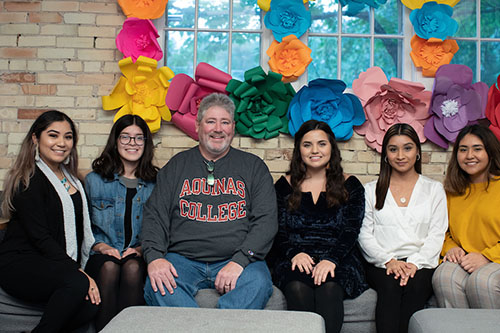 President Quinn and students