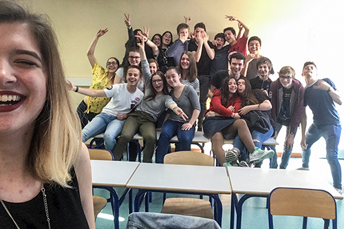 Miranda Burel with one of her classes in France