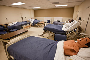 practice nursing room with beds