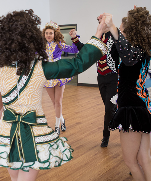 Dancers wearing Irish costumes