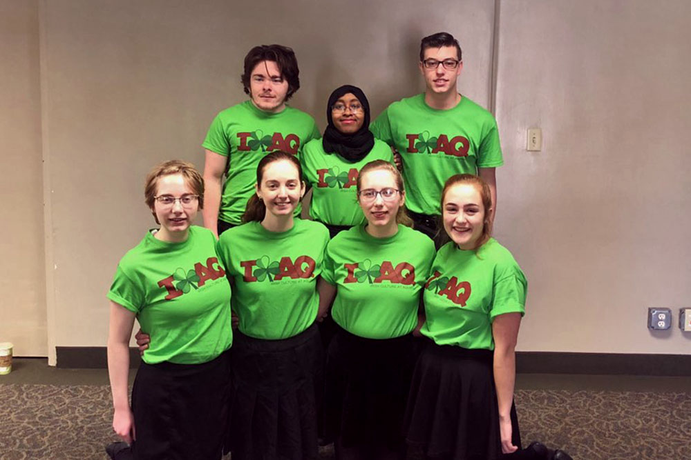 students wearing AQ Irish tshirts