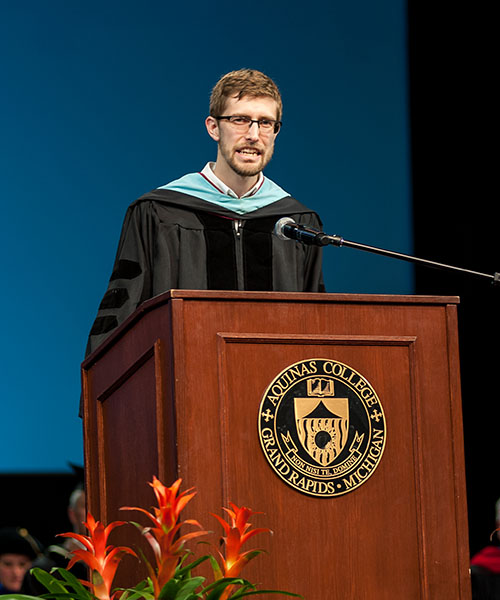 Brian Mick speaking at Commencement 2017