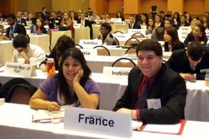 students at a Model UN event