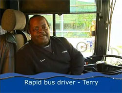 """Rapid bus driver - Terry"" man driving bus"