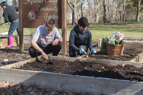 2 people working in community garden