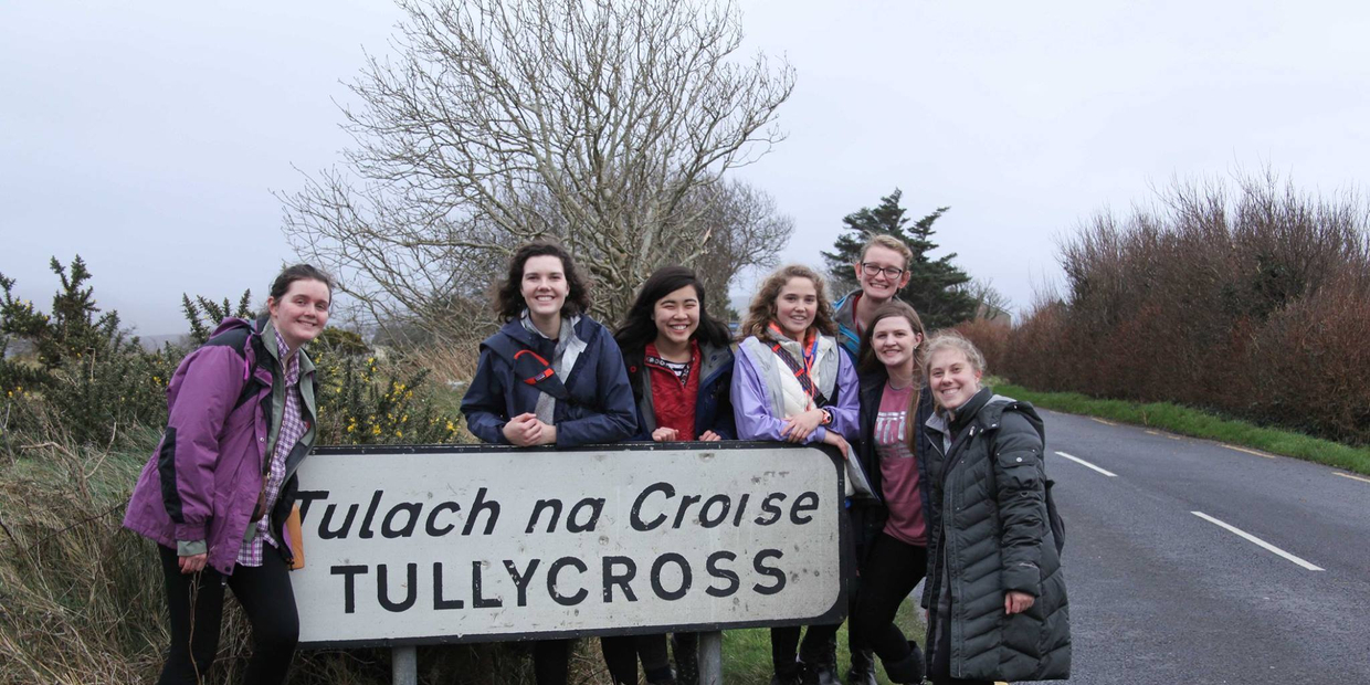 students by Tullycross sign