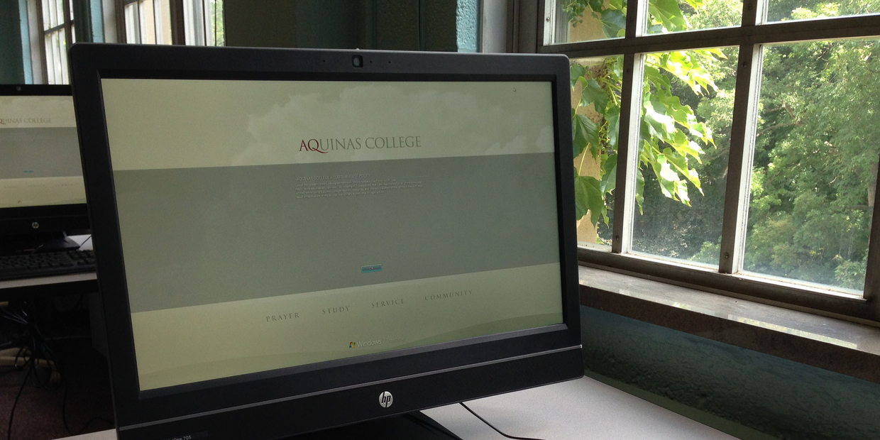 Aquinas computer screen
