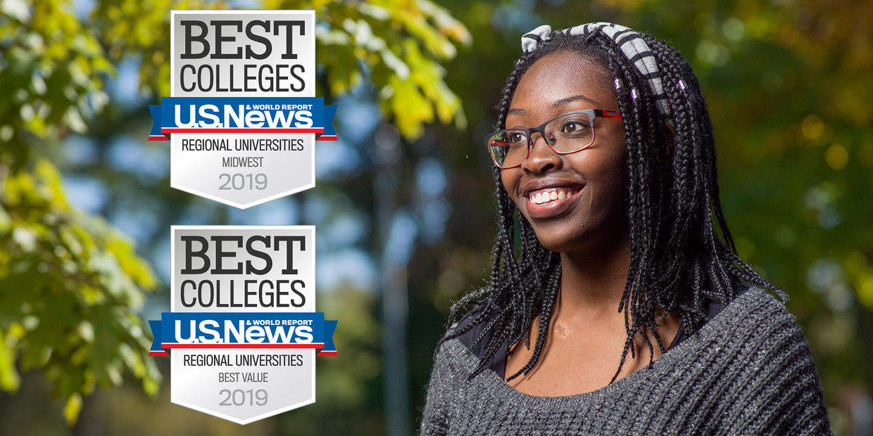 student in nature with two U.S. News Badges next to her