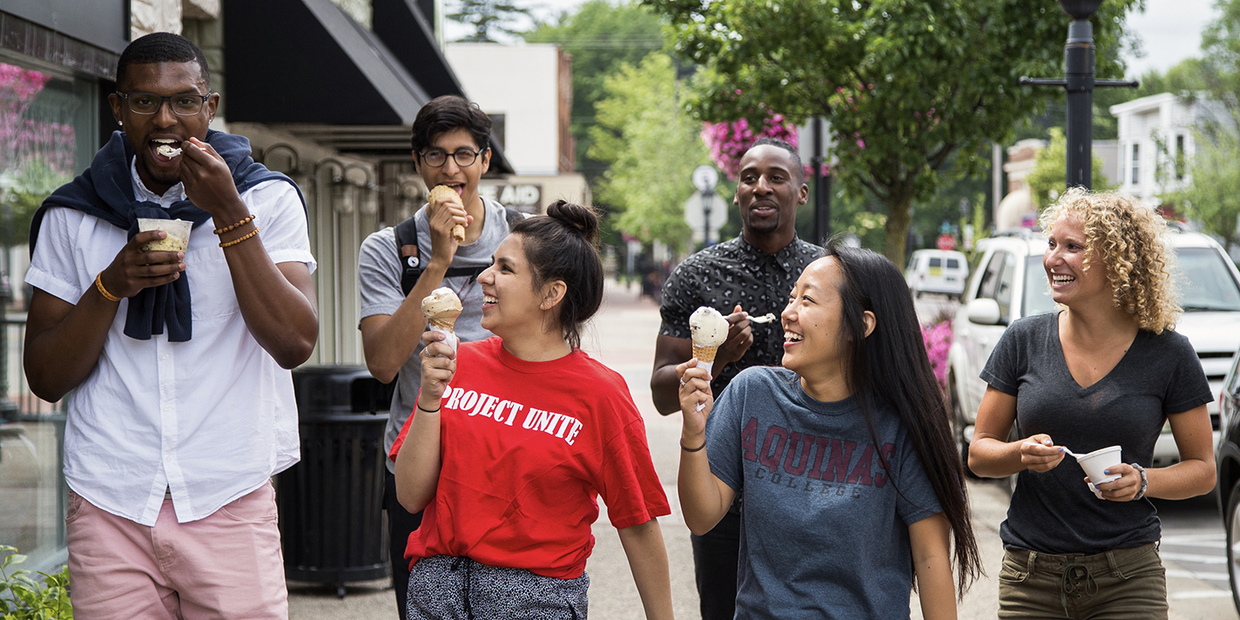 group of students eating ice cream outside