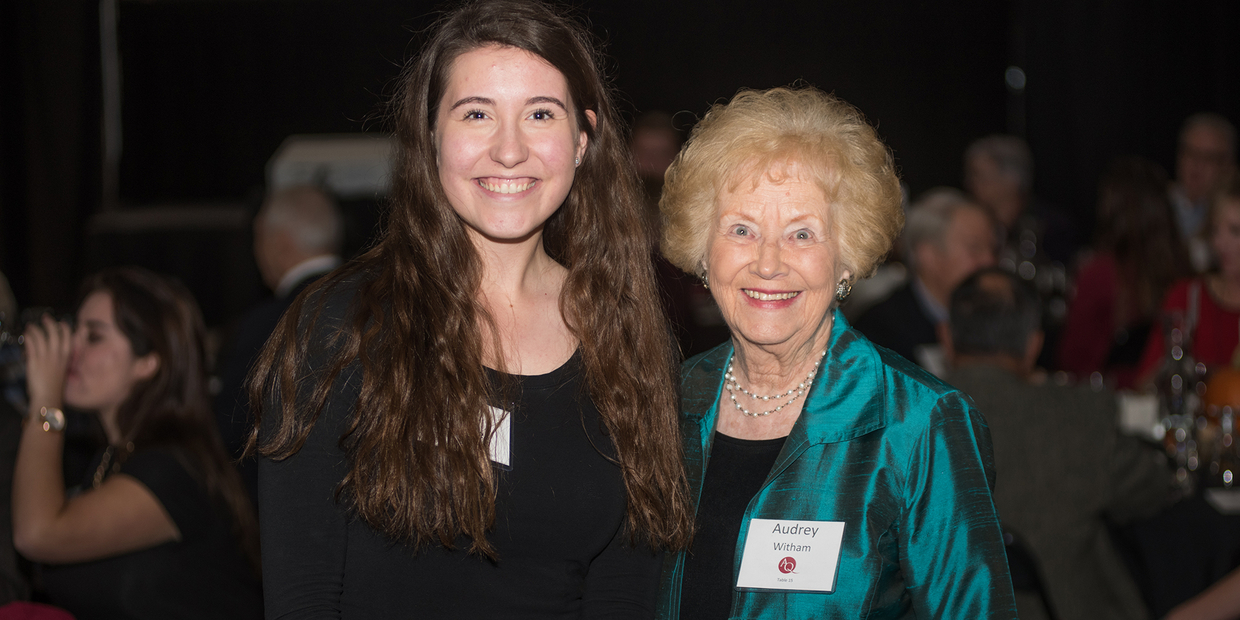 Scholarship Donor Dinner, Fall 2017: The O'Brien, Witham, McCargar Vocal Music Scholarship Recipient and on of the Donors - Lucy Dinsmore, soprano (Class of 2020), Sophomore, and Audrey J. Witham '48