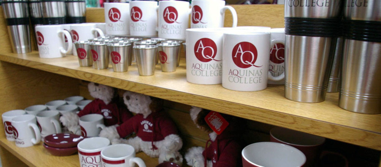 Aquinas bookstore mugs, bears, cups