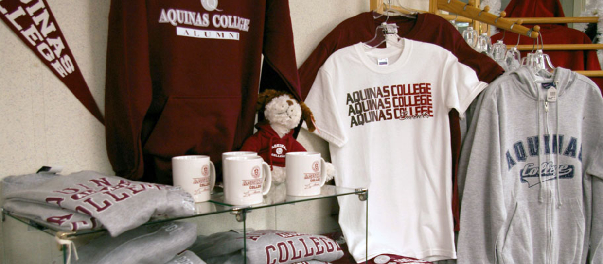 Aquinas bookstore mugs, bears, shirts