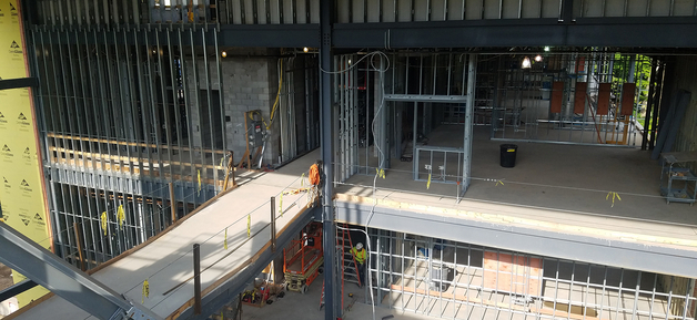 walkway construction of new science building wing