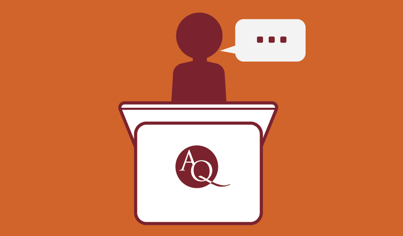 speaker at a podium graphic