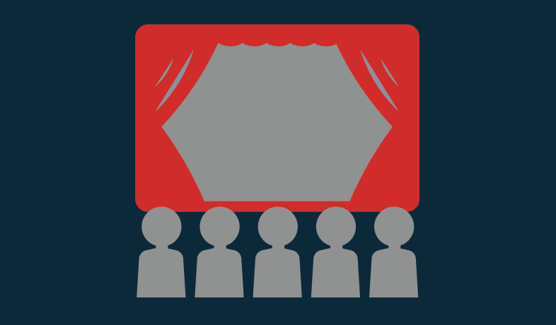 Graphic of a stage with people looking