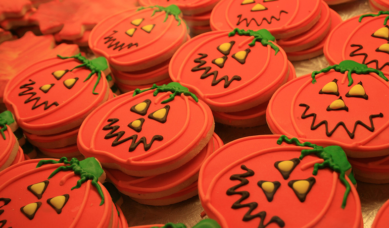 cookies decorated as pumpkins