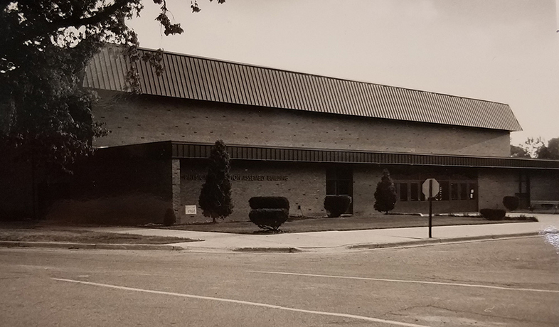 old picture of building on campus