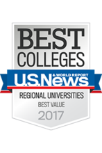 """Best Colleges US News & World Report Regional Universities Best Value 2017"" banner"