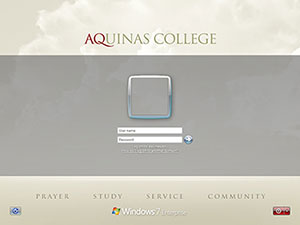 Aquinas Login screen on computers